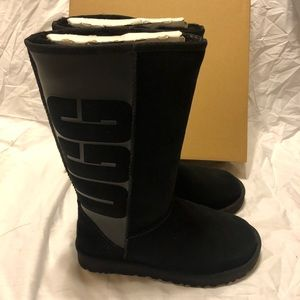 UGG Classic Tall Rubber Logo Boot Black Suede